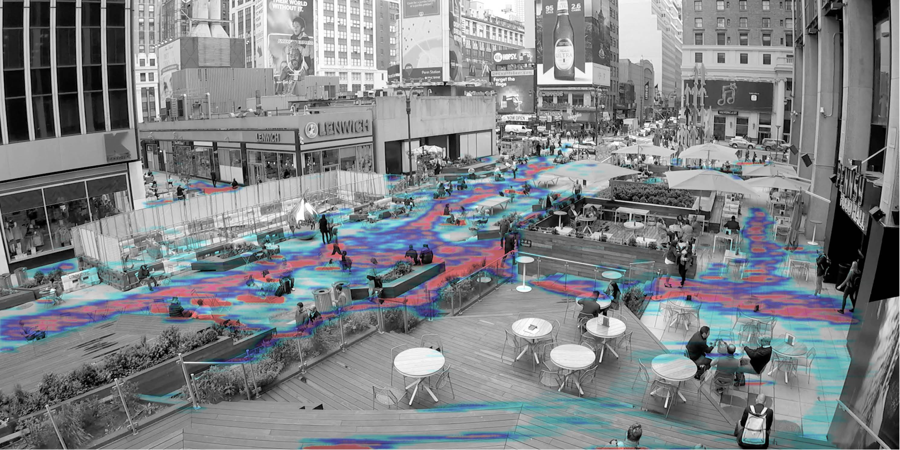 rendering of a pedestrian plaza