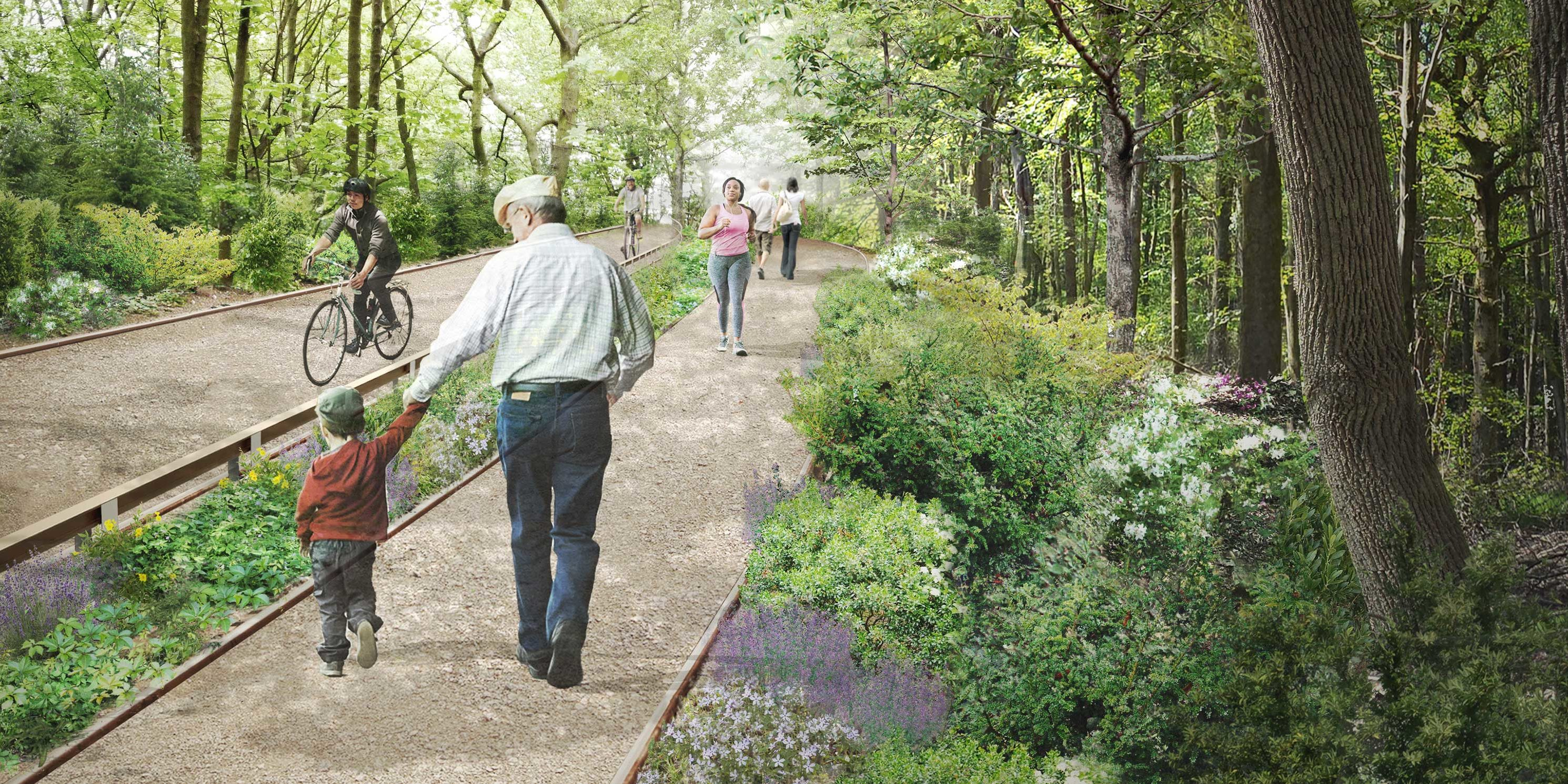 rendering of South Passage walking path