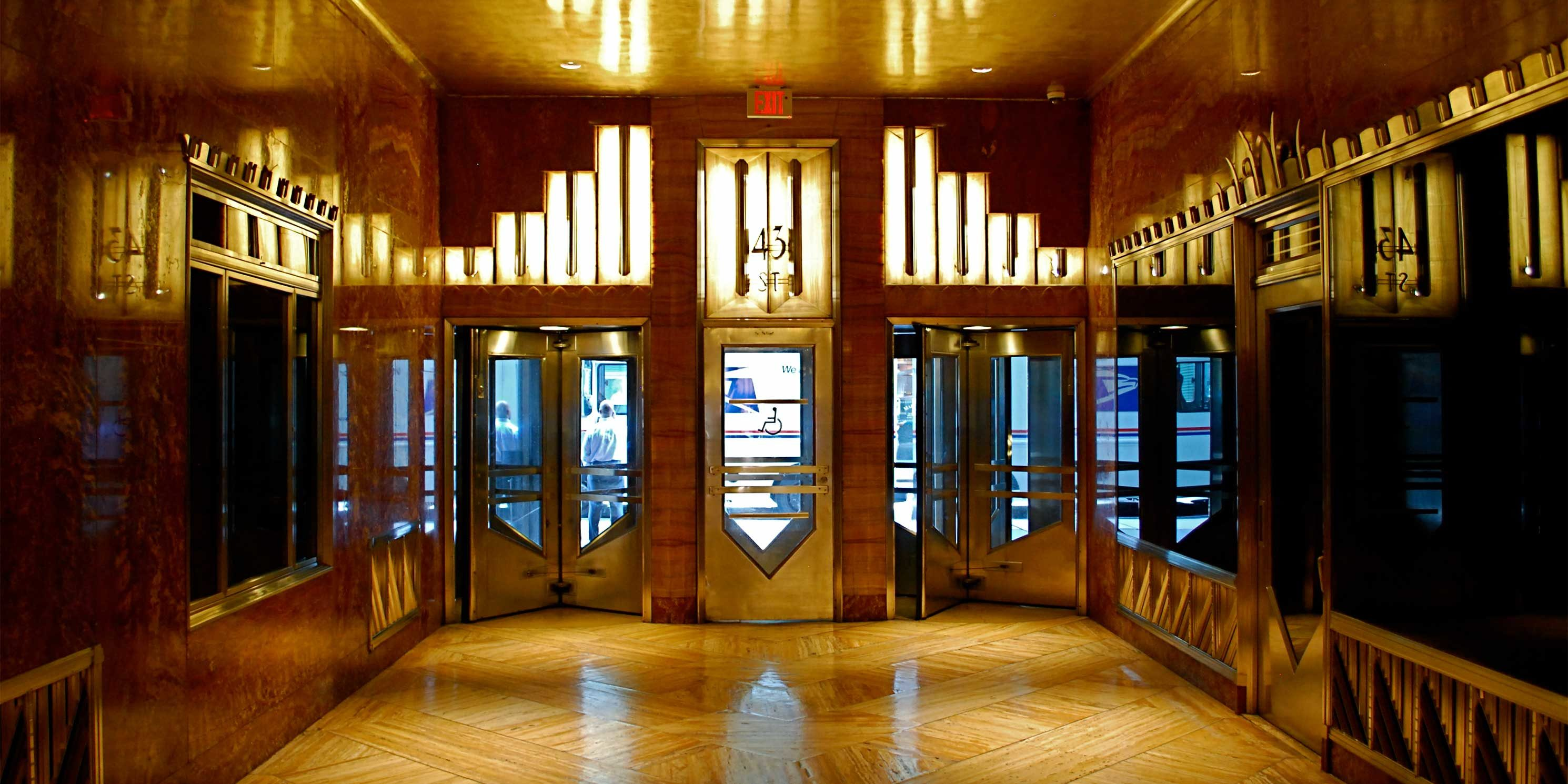 lobby and revolving doors in the Chrysler Building