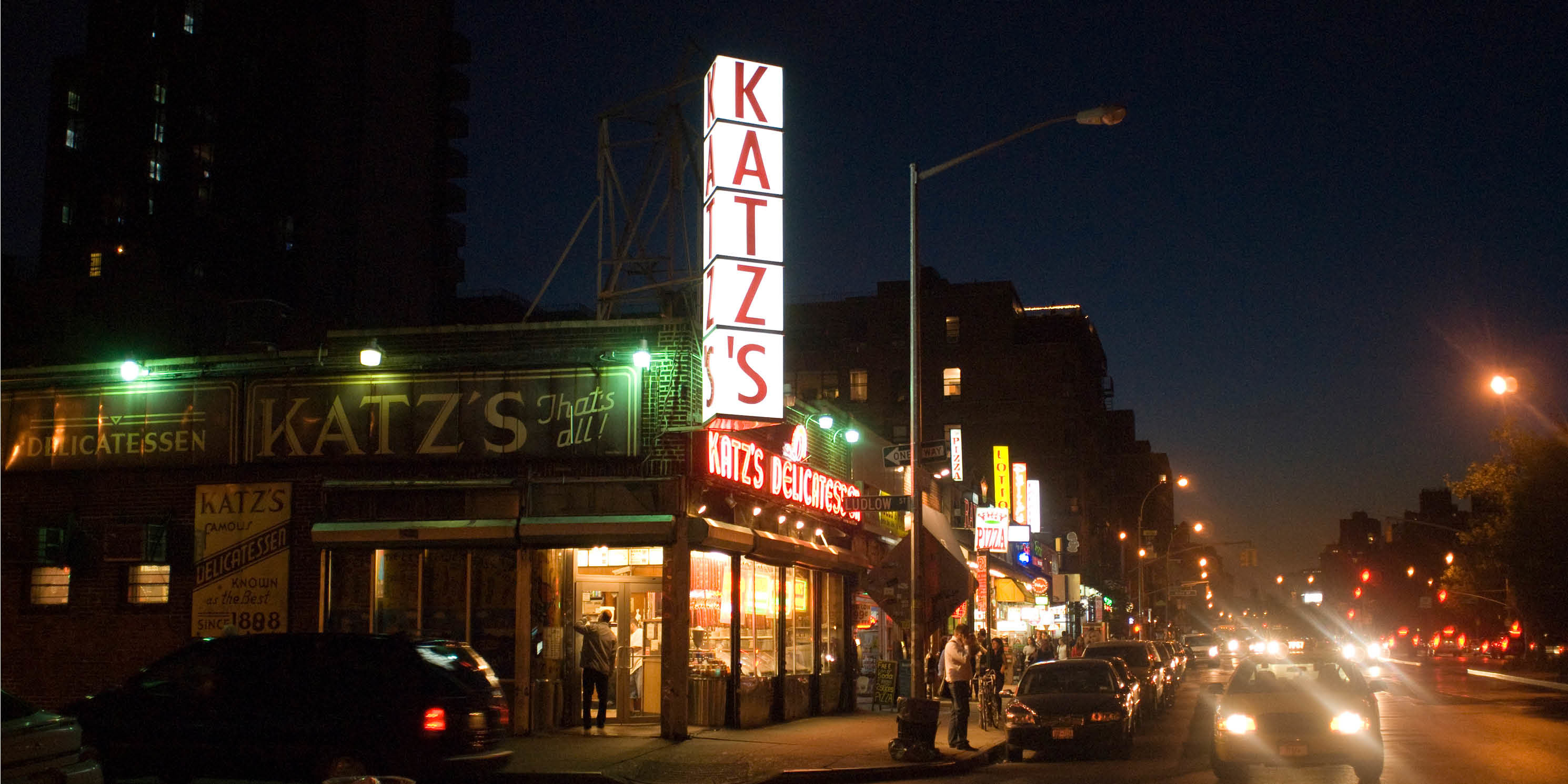 exterior of Katz's Deli at night