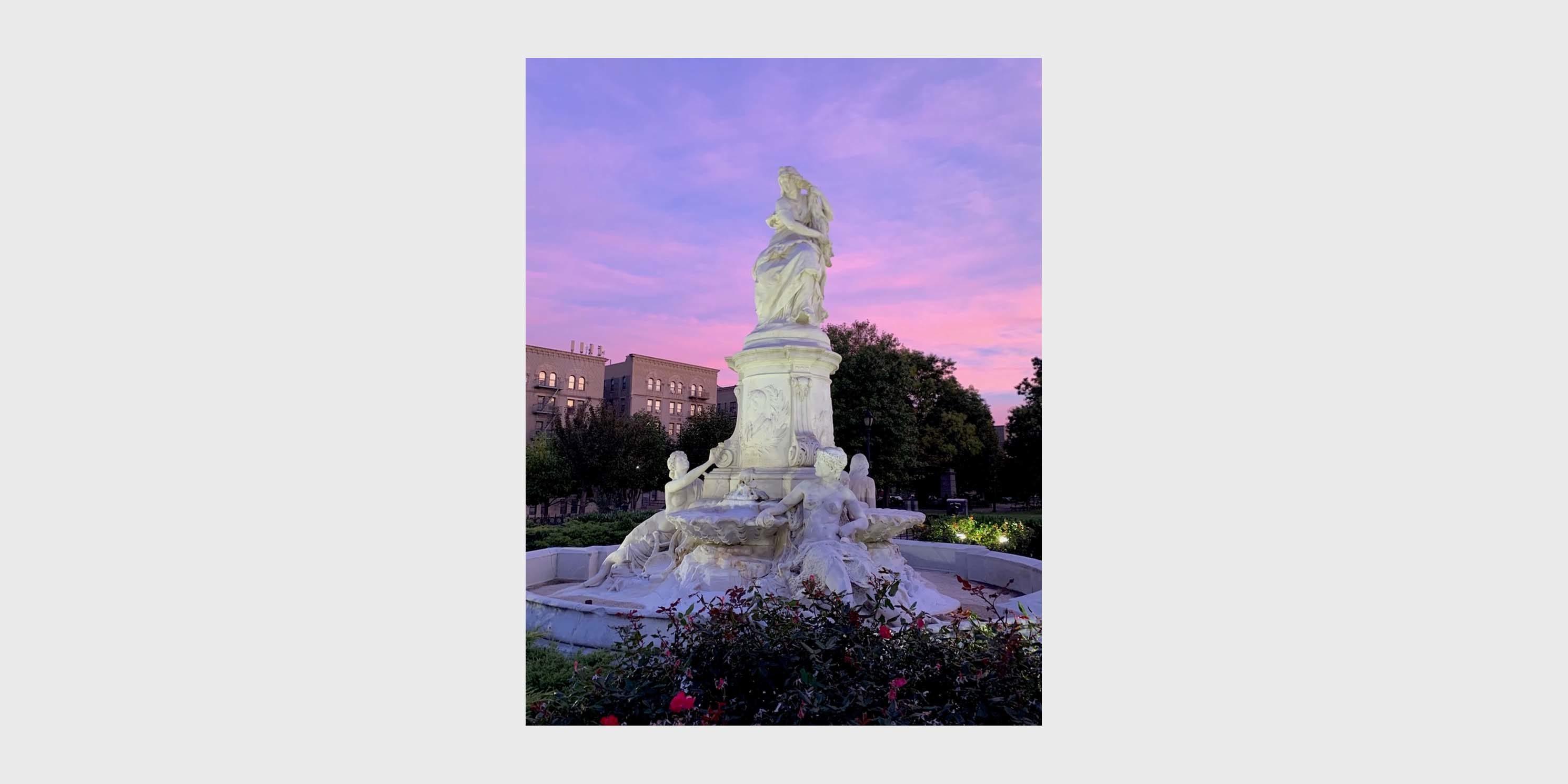 Heinrich Heine Fountain at sunset