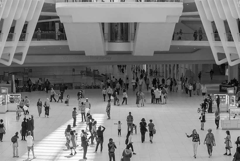 the Oculus concourse with pedestrians