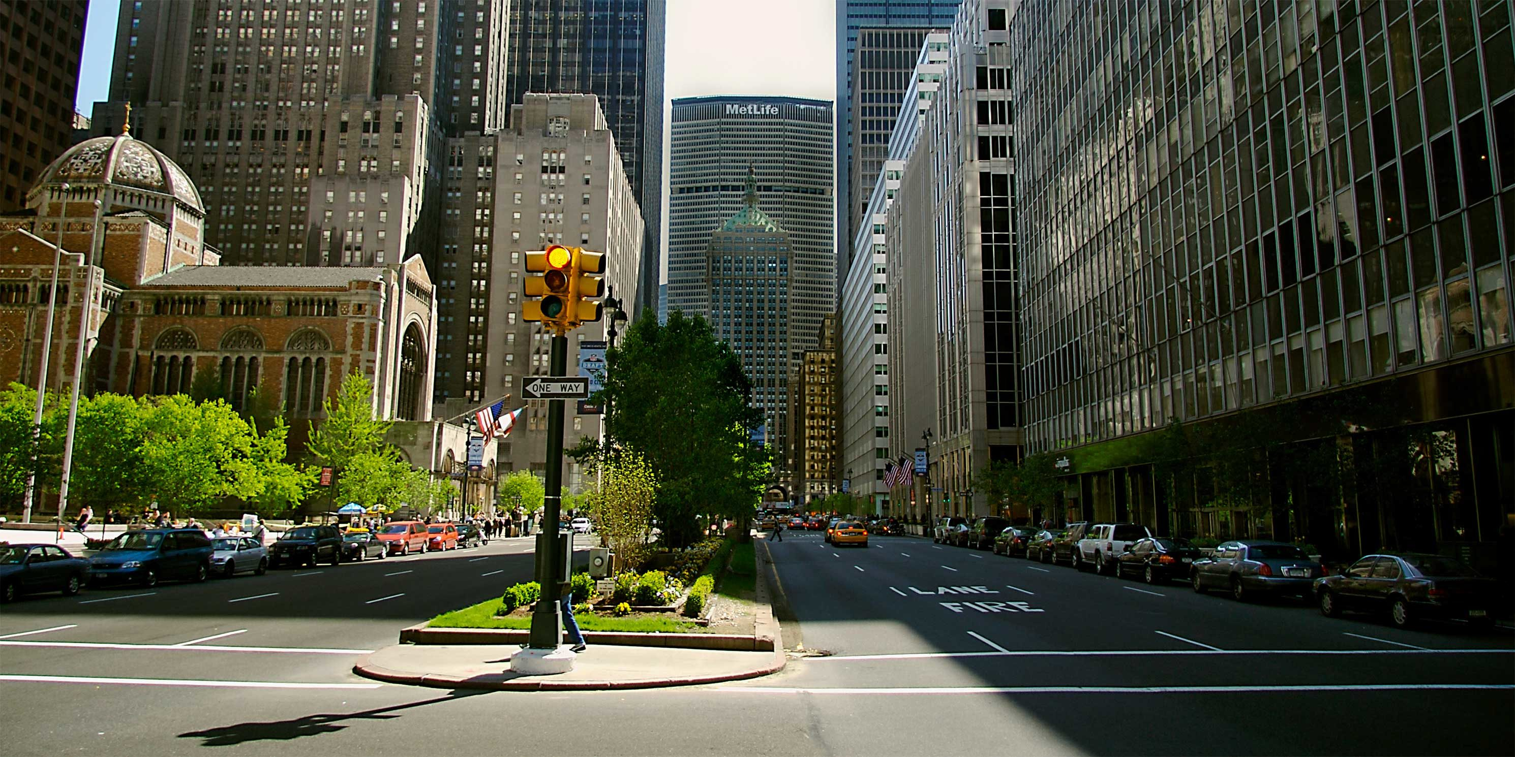 Looking down Park Avenue with Met Life Building in the background