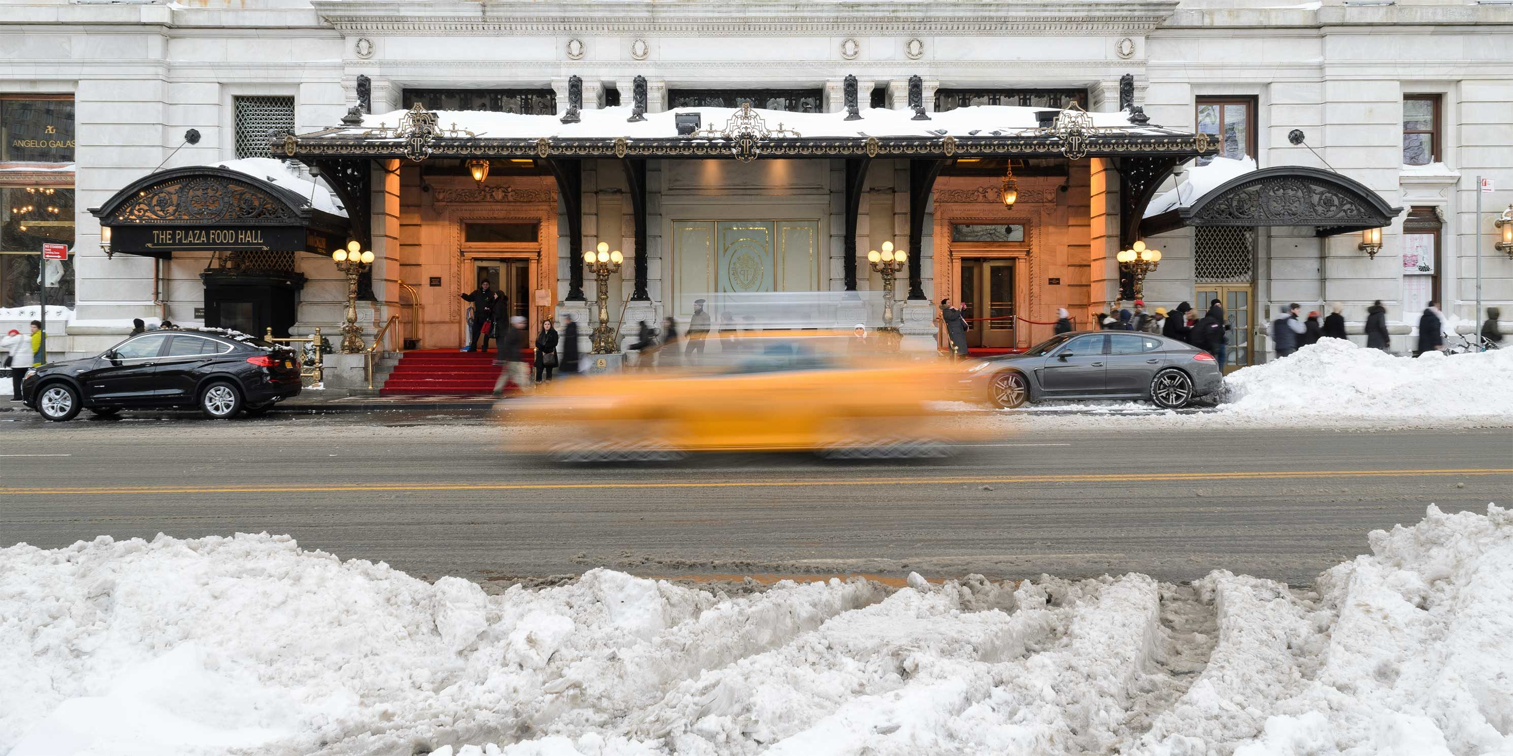 exterior of the Plaza Hotel with snow
