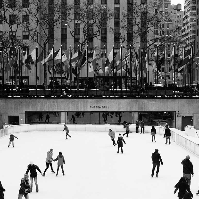 skaters at the ice rink in Rockefeller Center