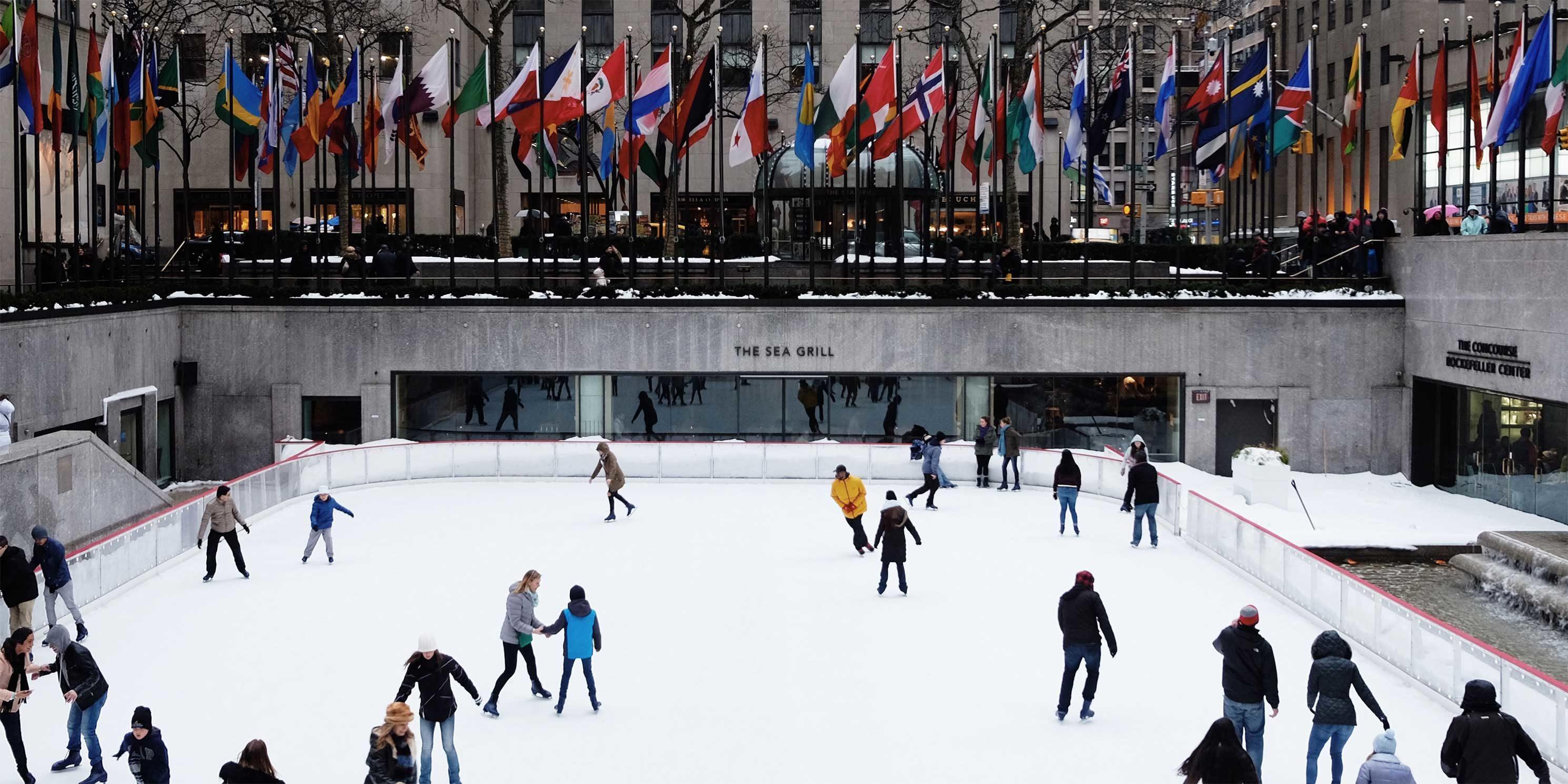 skaters at the ice rink in Rockefeller Center