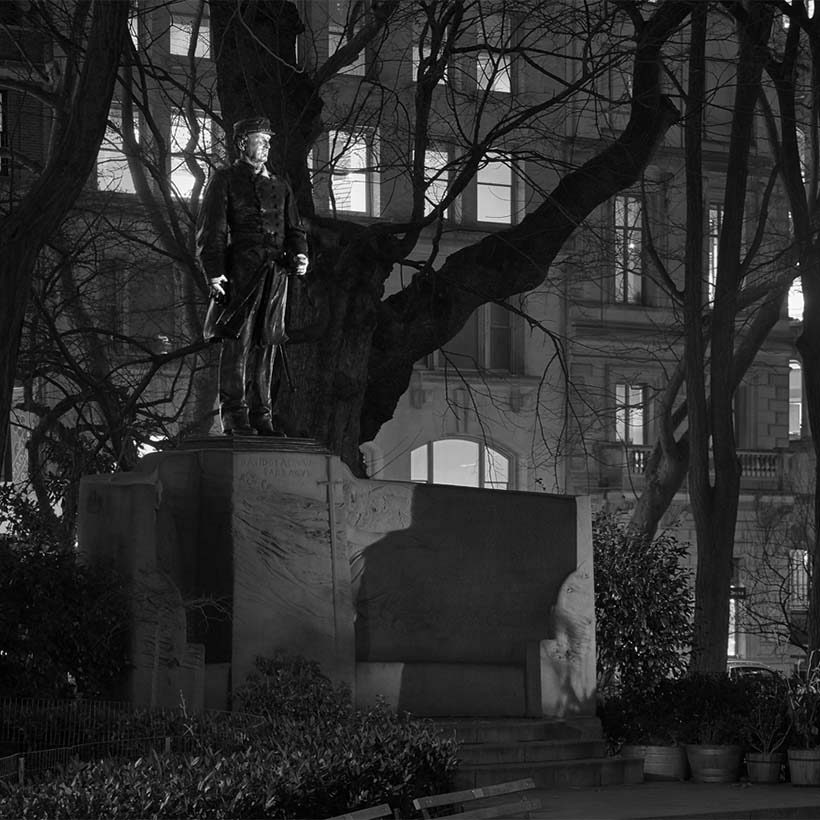 Admiral Farragut Monument at night
