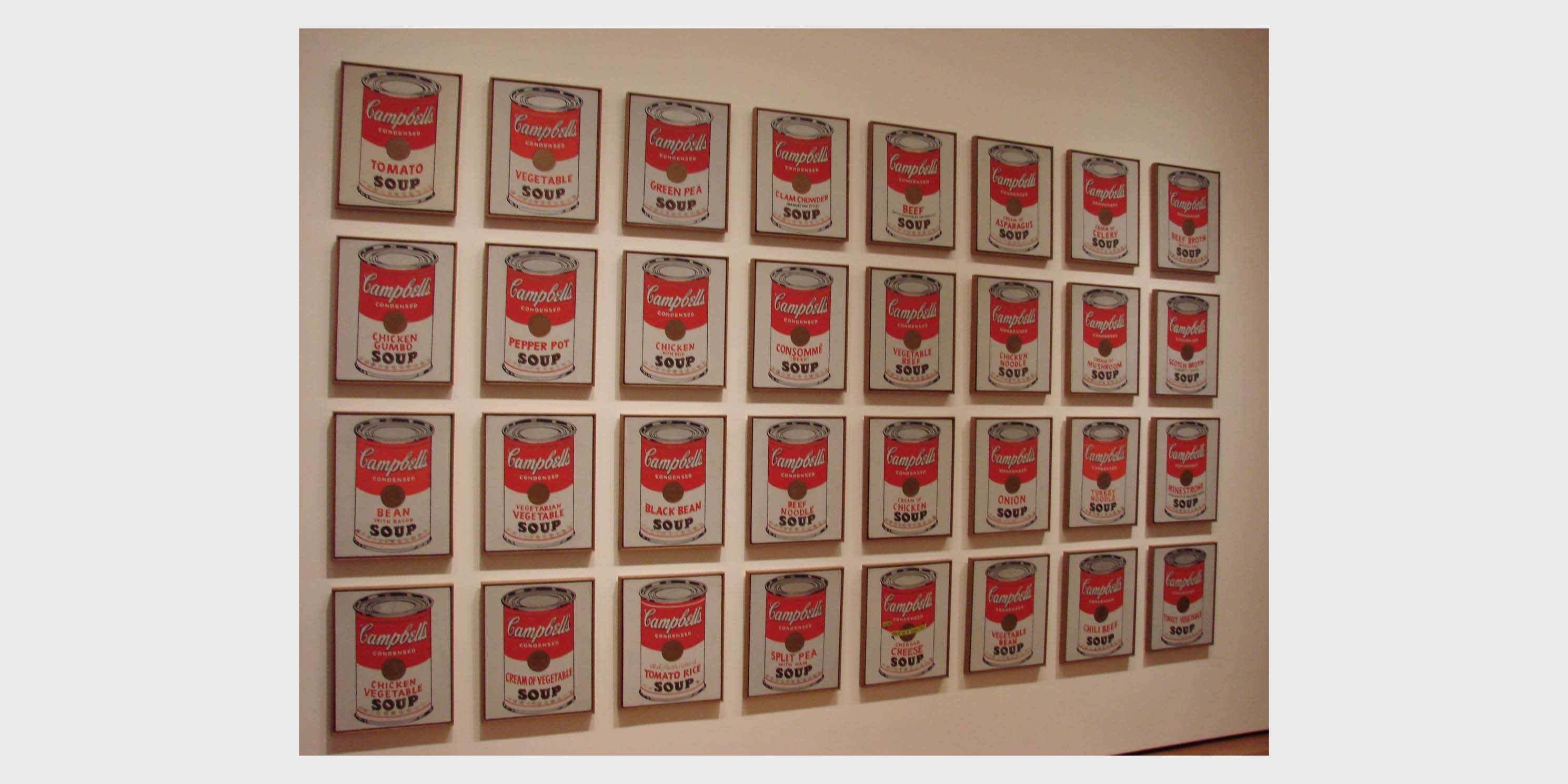 display of Andy Warhol's soup can paintings at the Museum of Modern Art