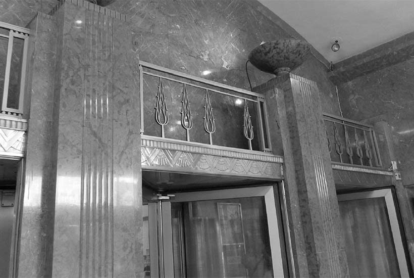 entrance to art deco style building in Brooklyn Heights