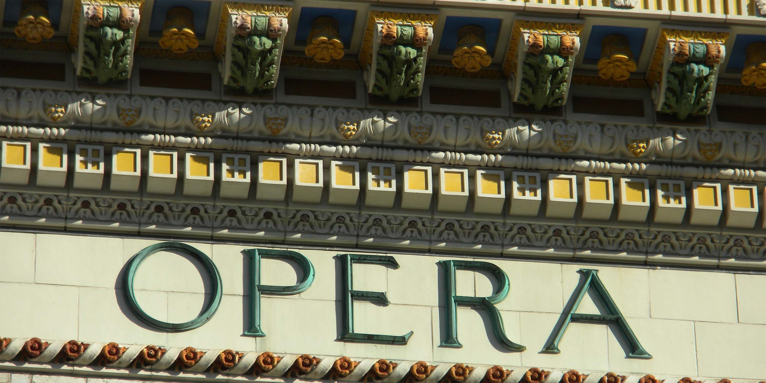 close up on the word Opera, on the exterior of the Brooklyn Academy of Music