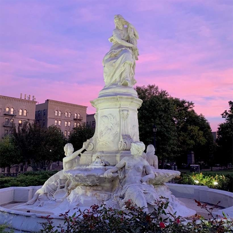 Heinrich Heine Fountain at sunset