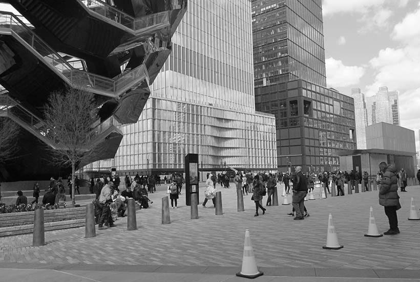 plaza with pedestrians in Hudson Yards