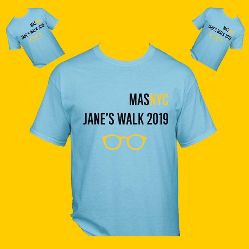 Jane's Walk 2019 t-shirts on yellow background