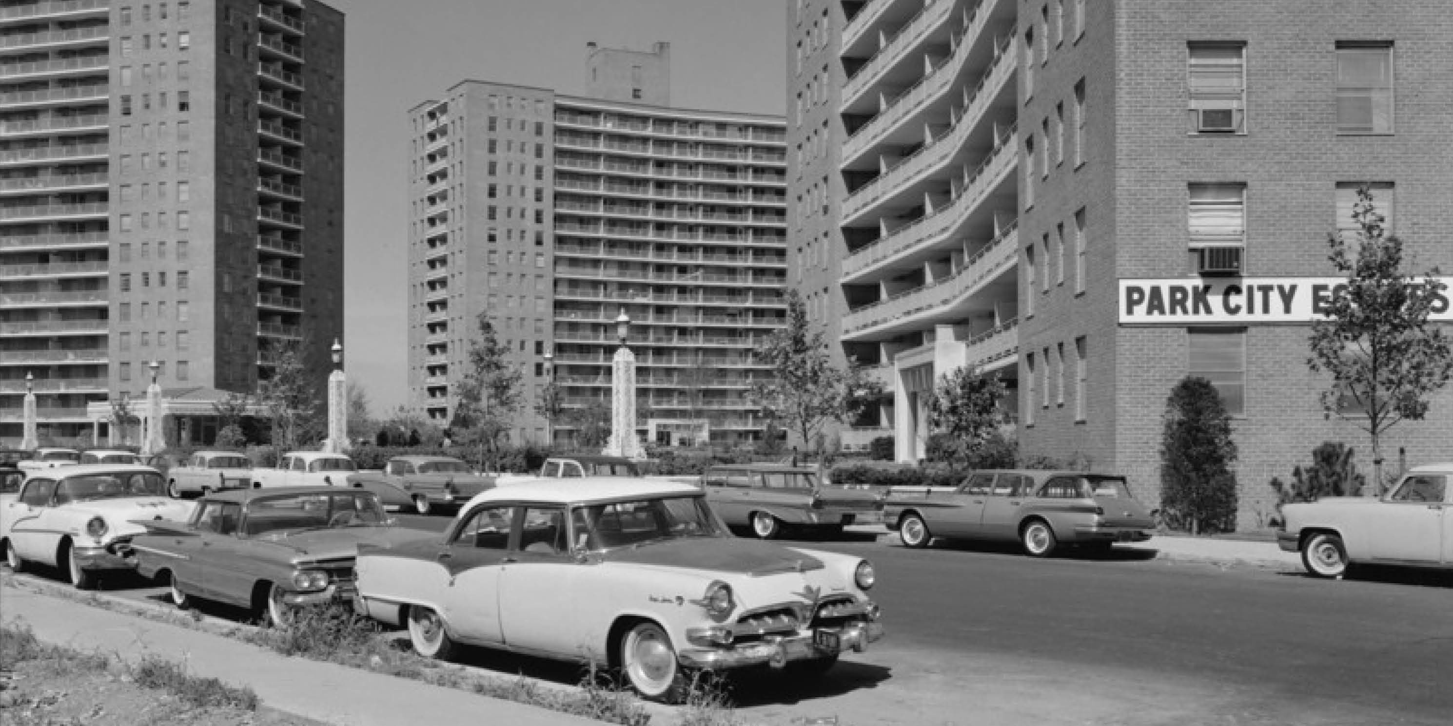 archival photo of new apartment towers in Queens