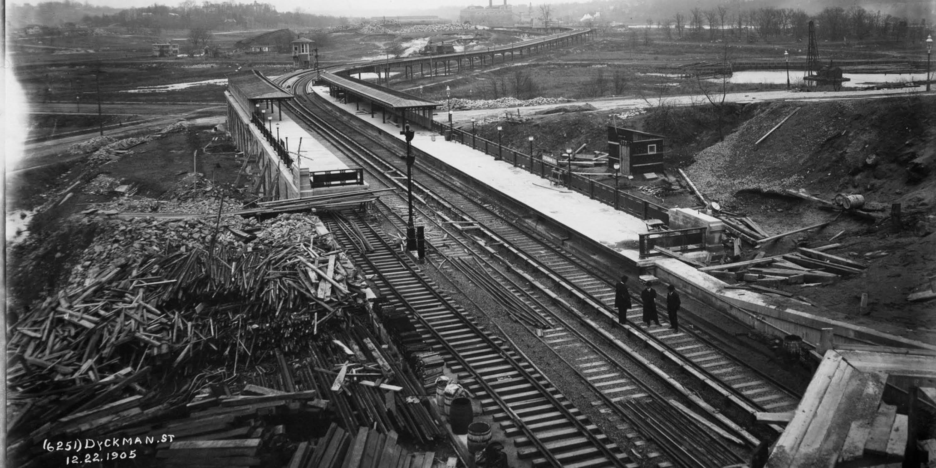 archival photo of railway construction in Upper Manhattan