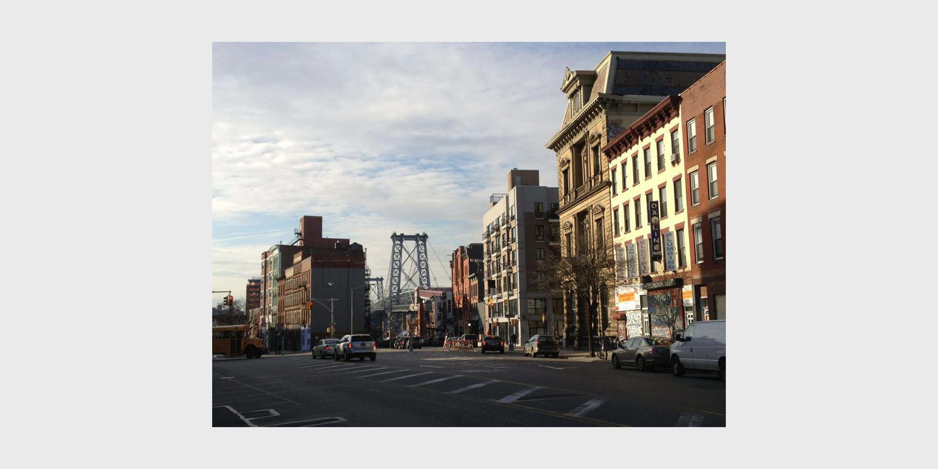 street in South Williamsburg with Williamsburg Bridge in background