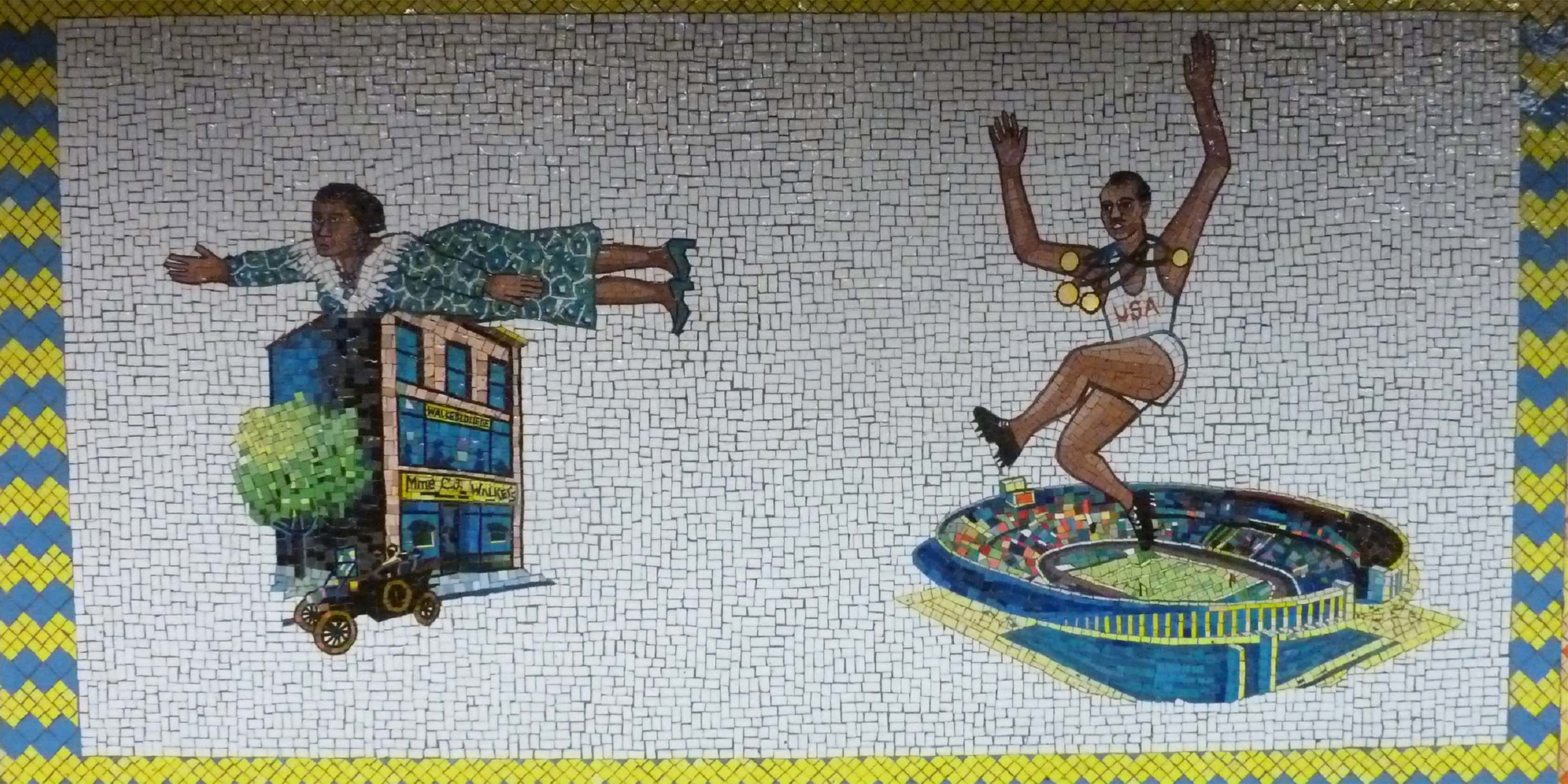 subway mural with Madam CJ Walker and Jesse Owens