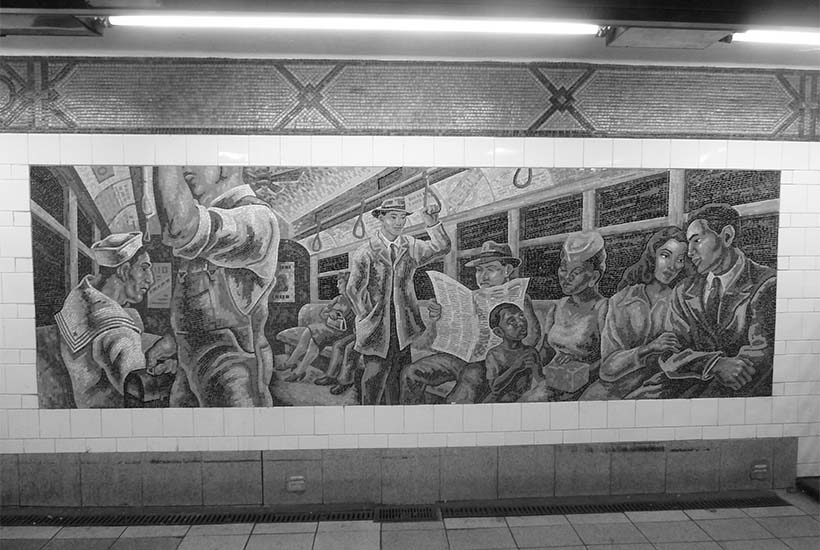 subway mural depicting passengers on a train