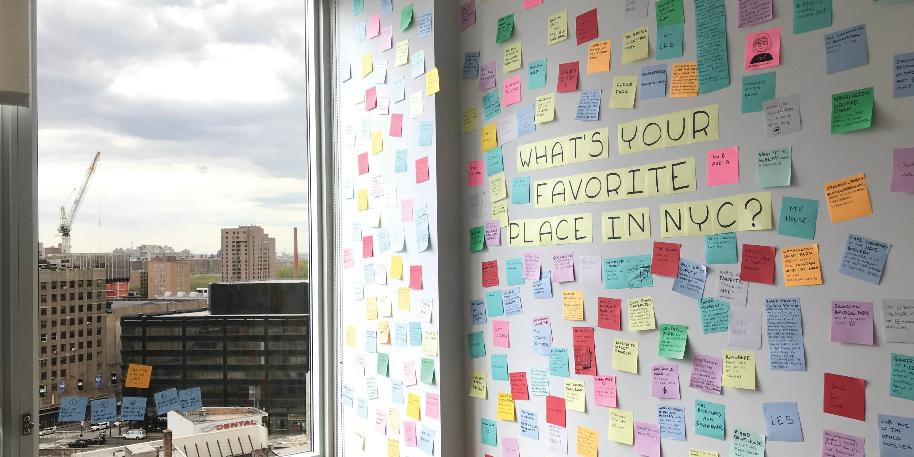 wall of post it notes from Subway Therapy exhibition