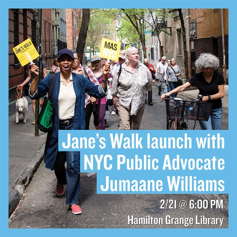 advertisement for Jane's Walk event with Jumaane Williams
