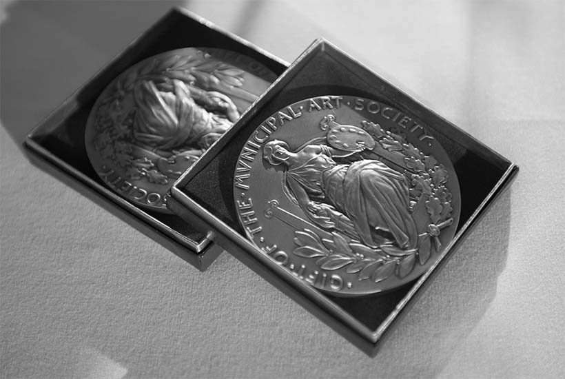 JKO medals in boxes at the 2015 Municipal Art Society of New York Gala
