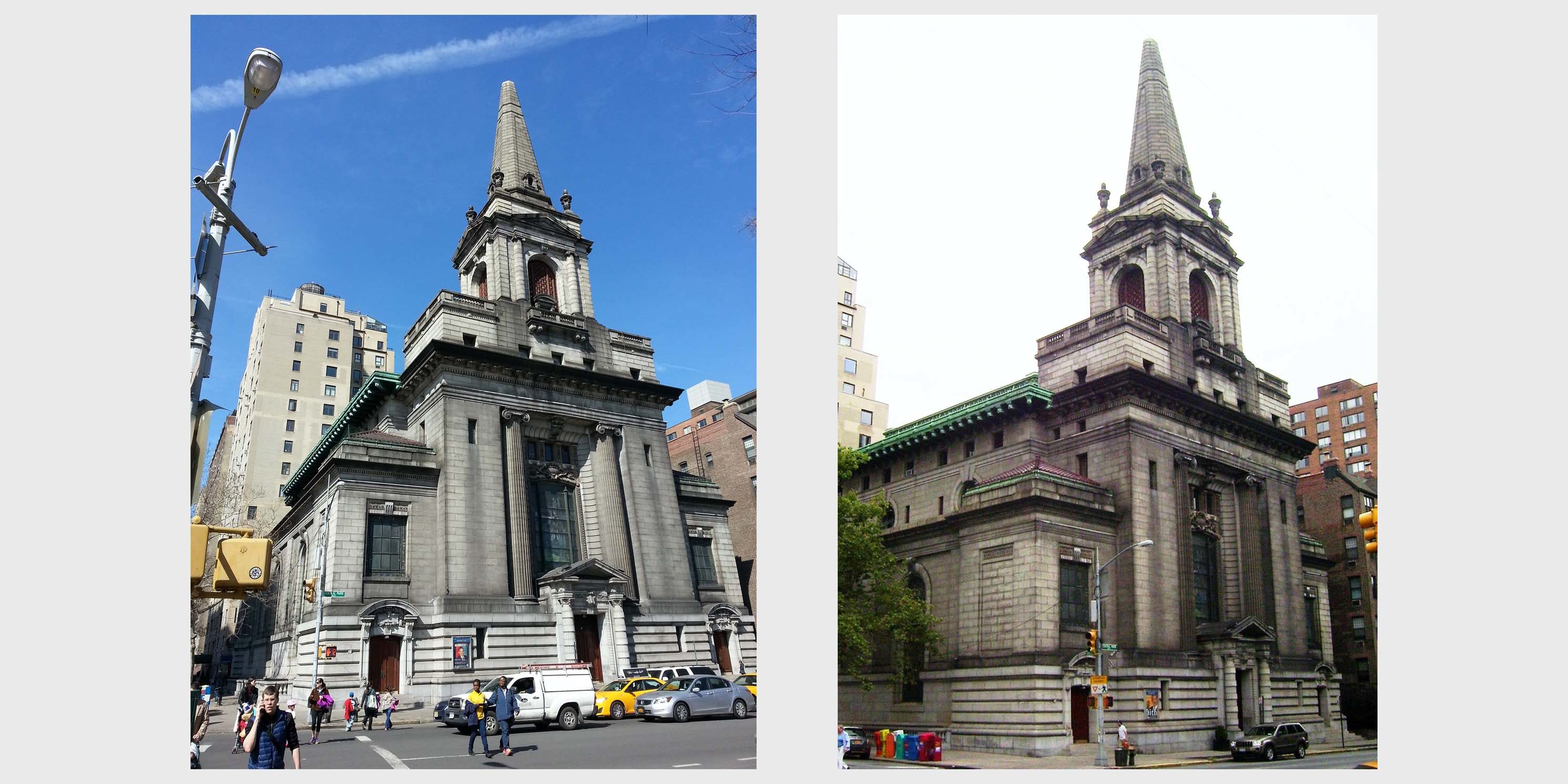 exterior of the First Church of Christian Science at 361 Central Park West in Manhattan