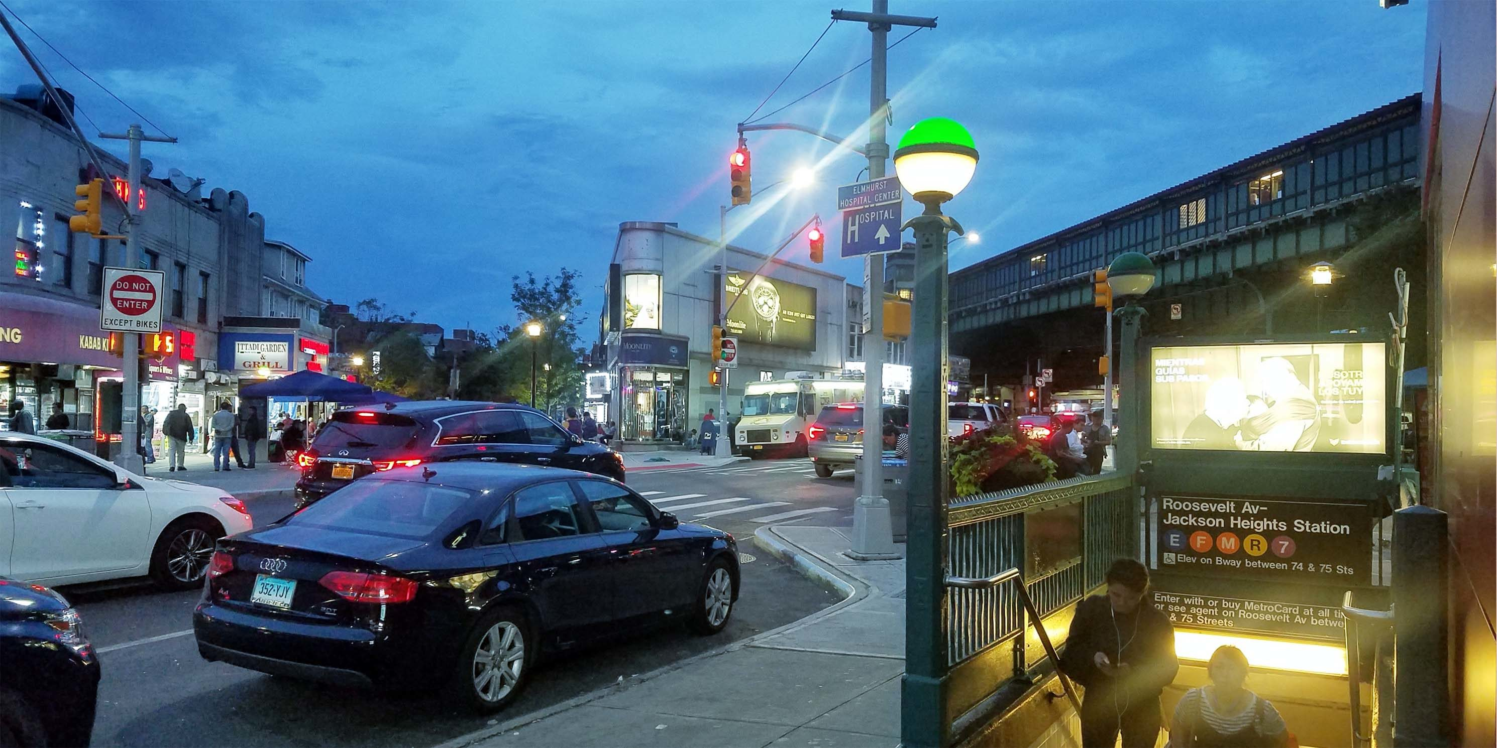 commercial street in Jackson Heights Queens at twilight