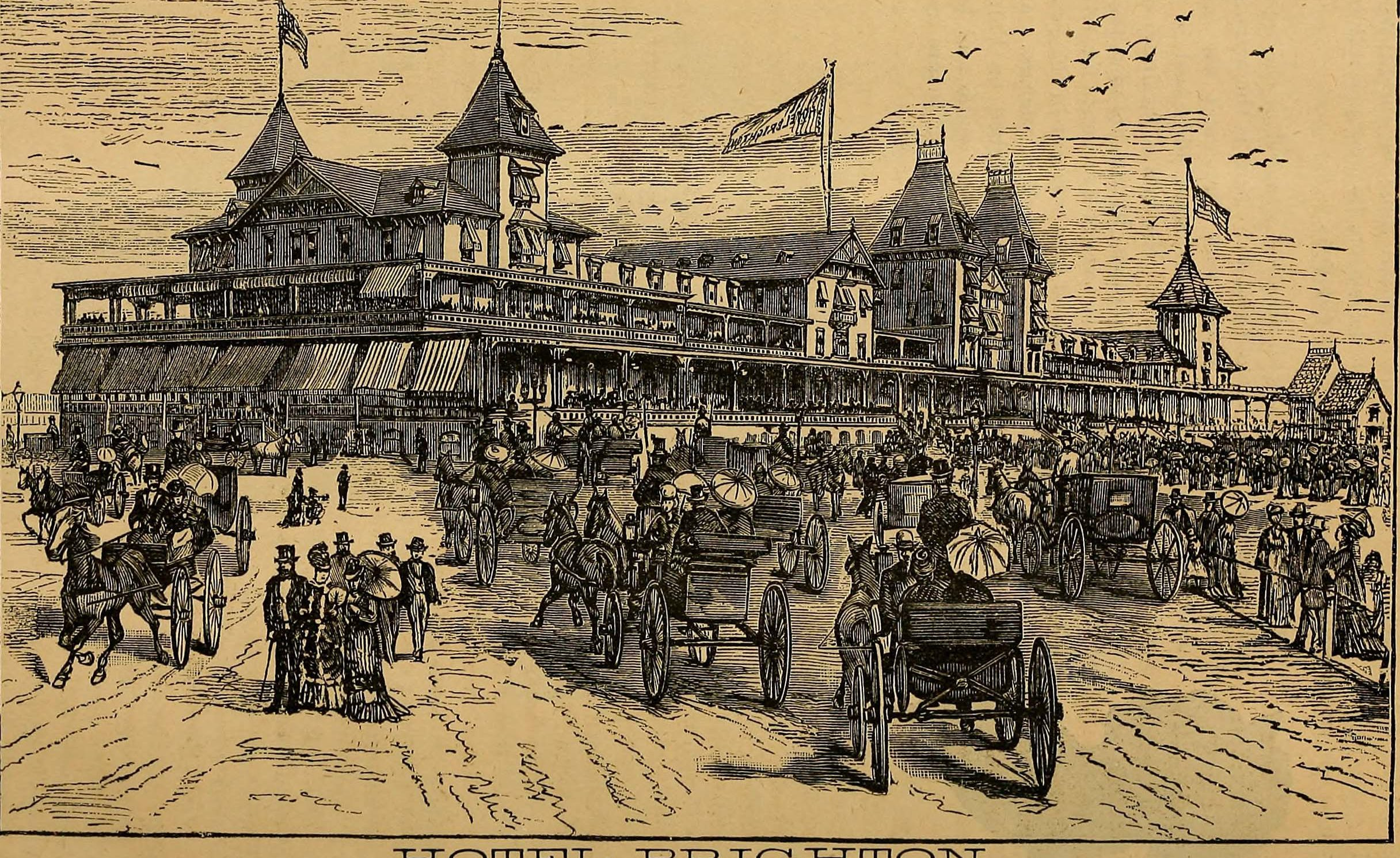illustration of horses and buggies outside the Hotel Brighton