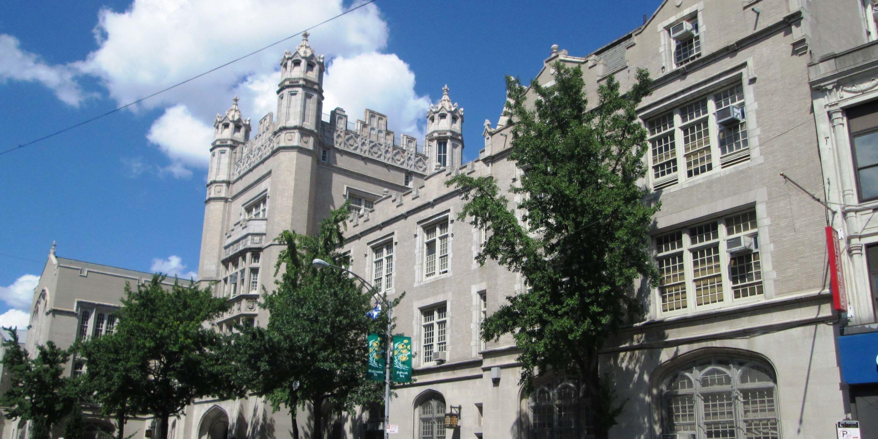 exterior of Erasmus Hall High School in Brooklyn