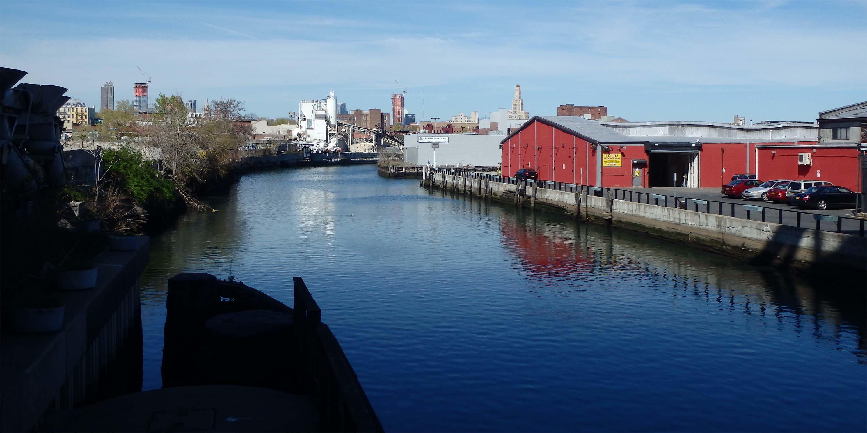Gowanus Canal with industrial buildings along shoreline