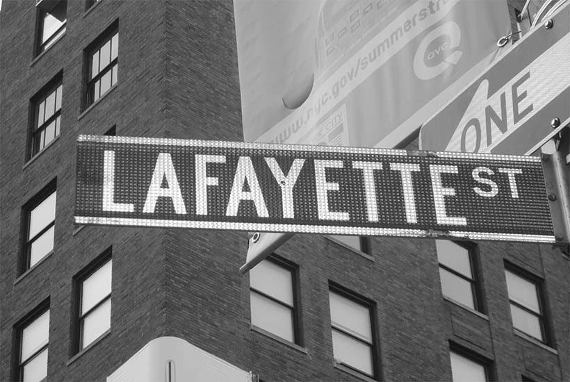 sign for Lafayette Street in Manhattan