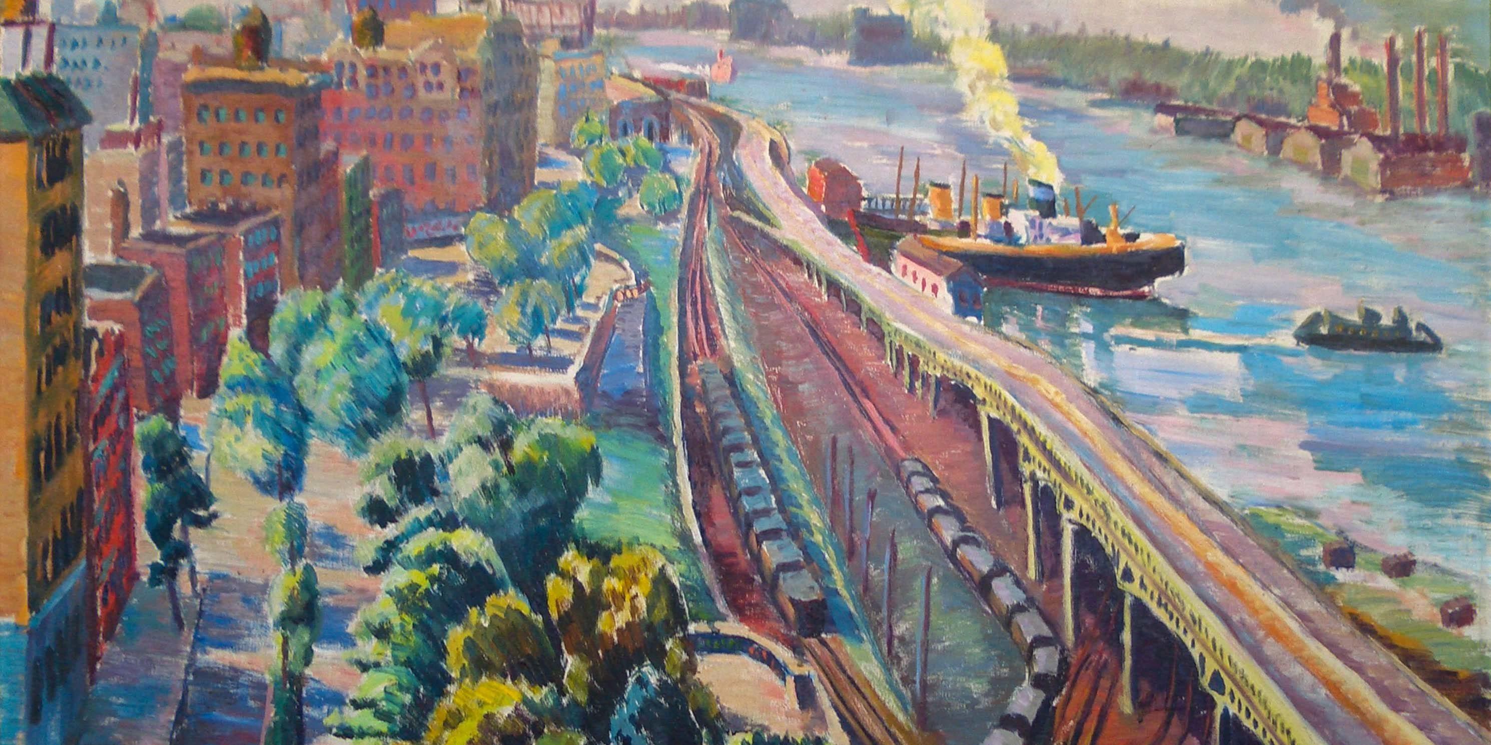painting of Riverside Drive in Manhattan