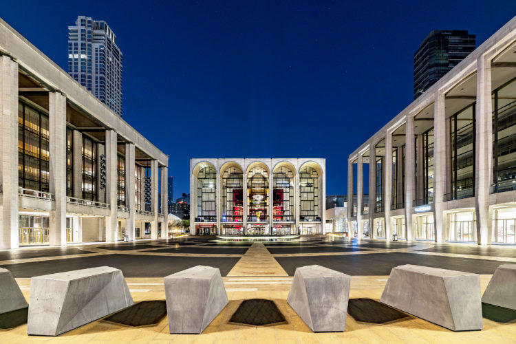 exterior of the Metropolitan Opera House - Lincoln Center - at night