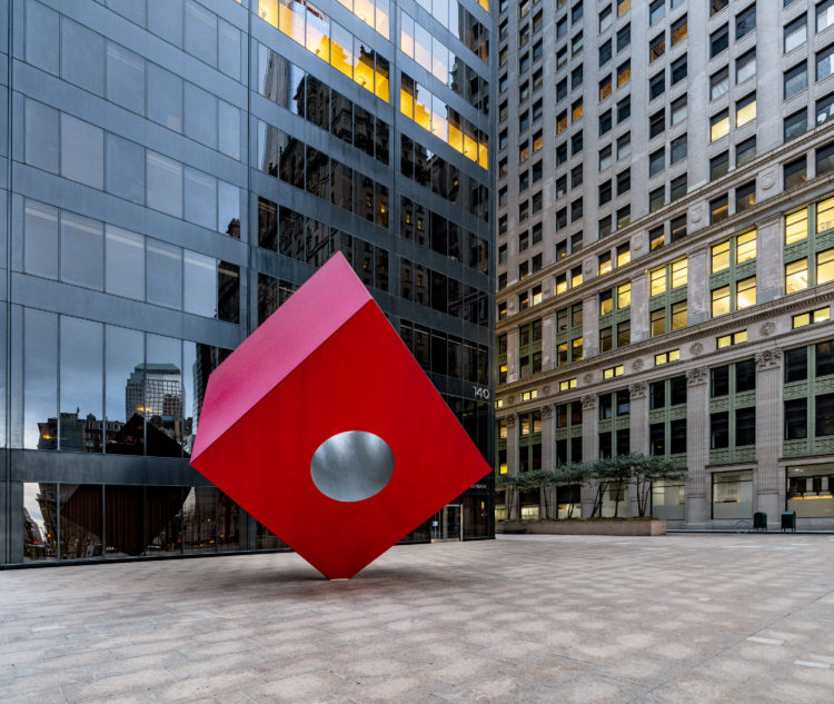 Red Cube sculpture by Isamu Noguchi - Broadway at Liberty Street