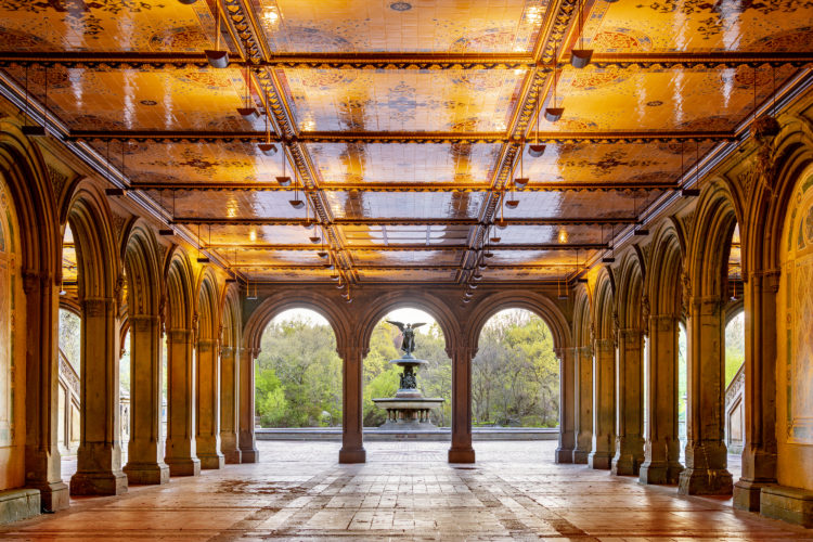 Bethesda Terrace Arcade looking towards Bethesda Fountain in Central Park