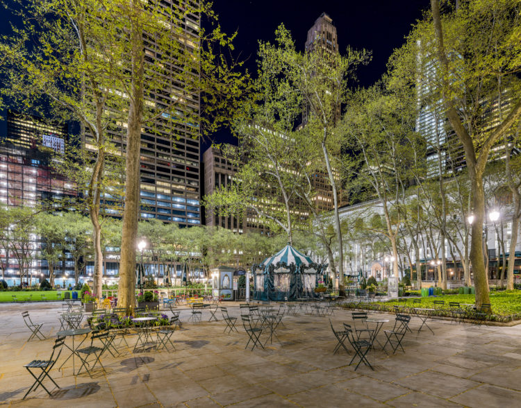 Bryant Park at night with no people