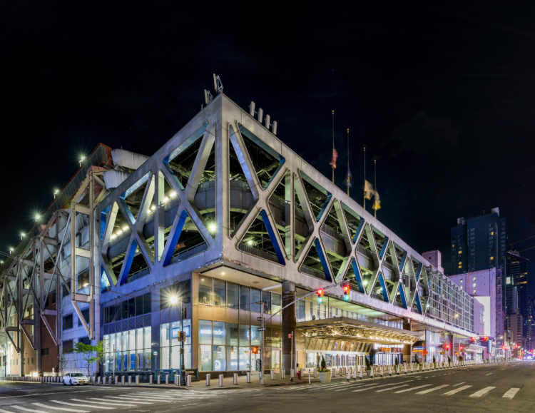 exterior of Port Authority Bus Terminal at night