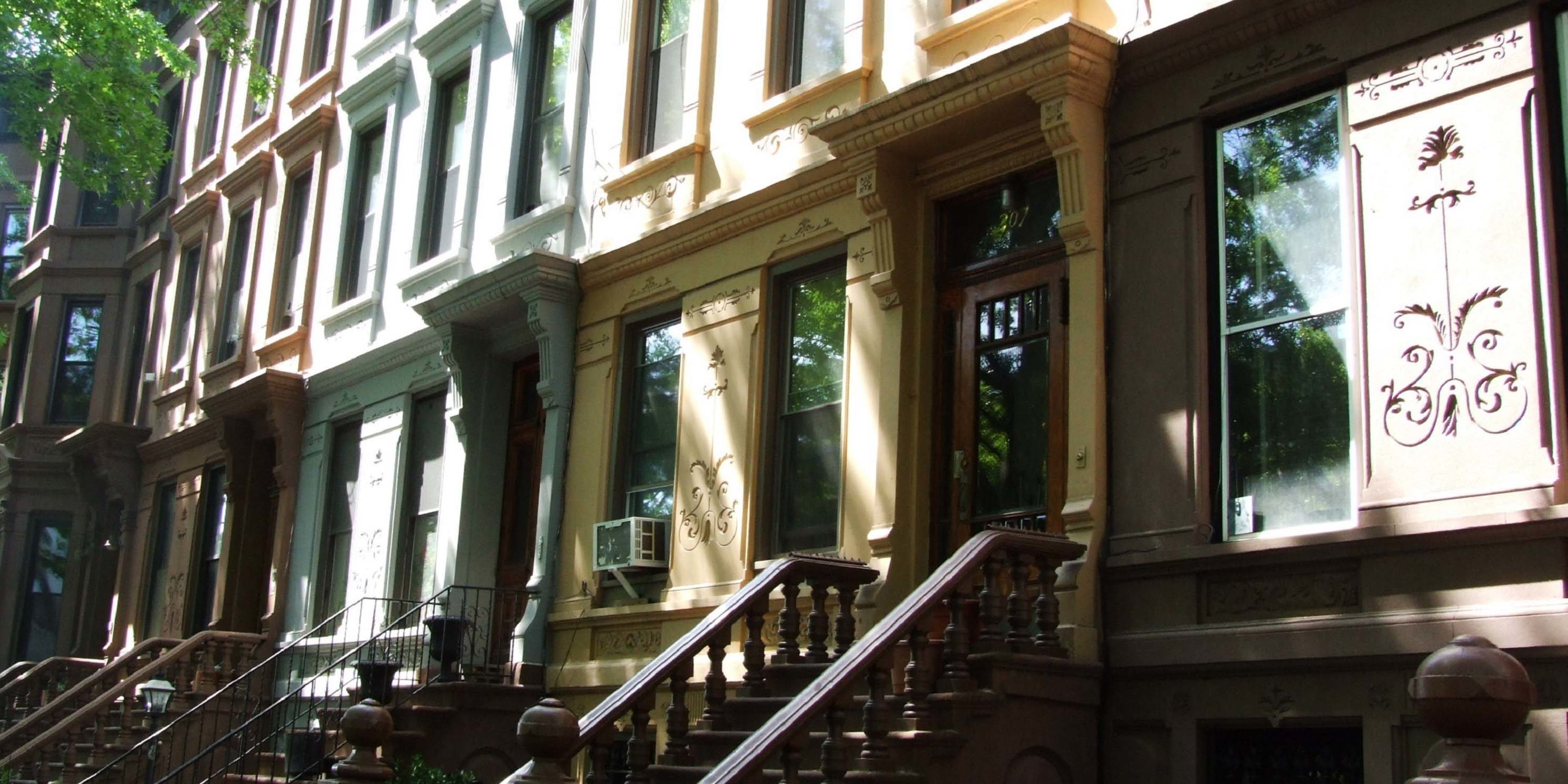 entrances of brownstones on Jefferson Avenue in Brooklyn