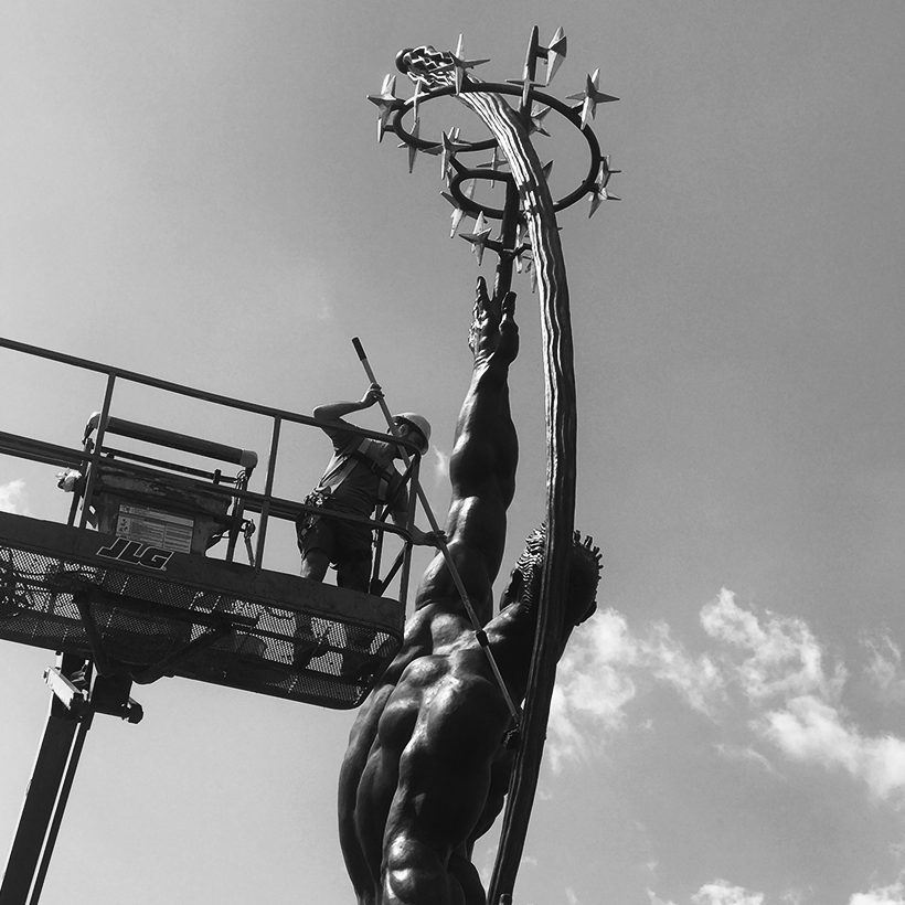 Rocket Thrower statue undergoing restoration