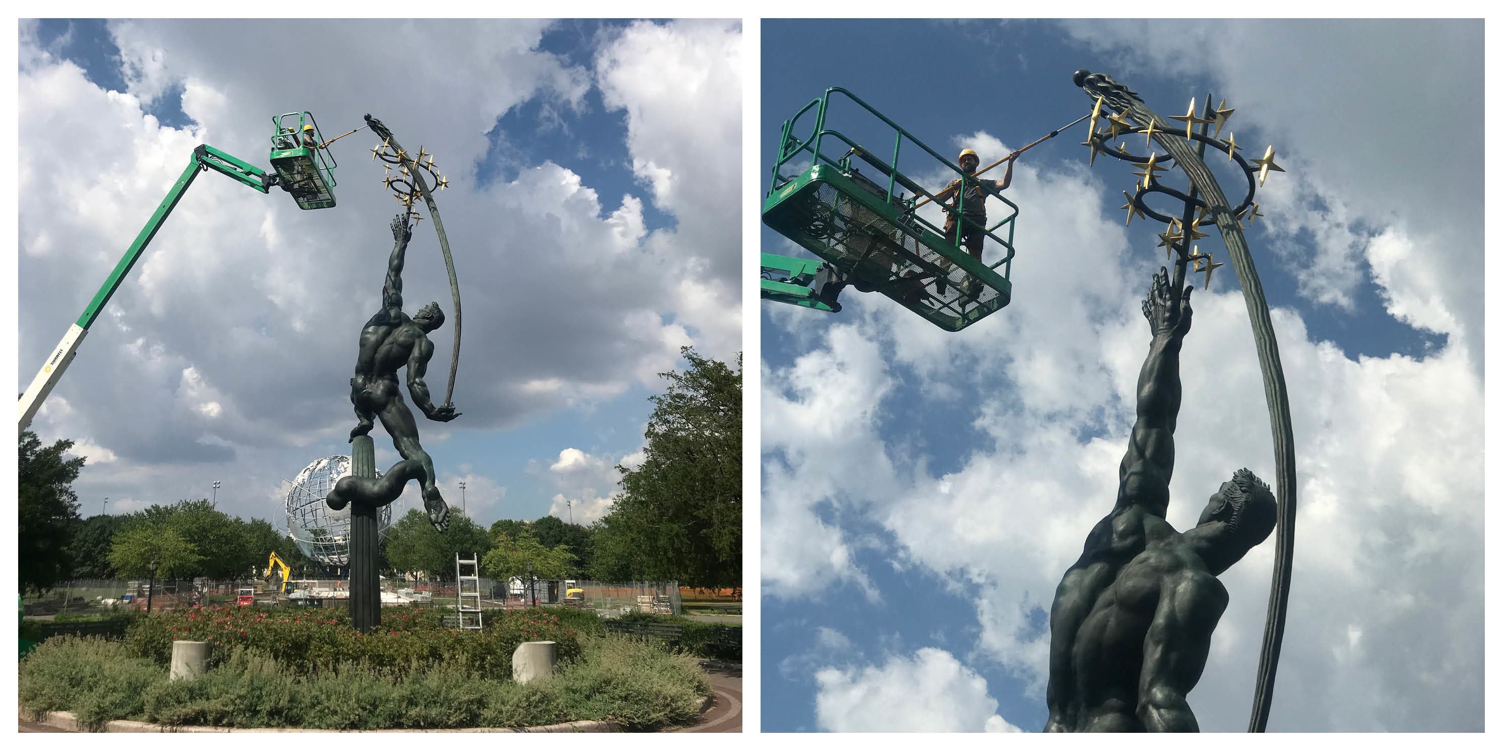 the Rocket Thrower statue before it was restored with a hot wax treatment