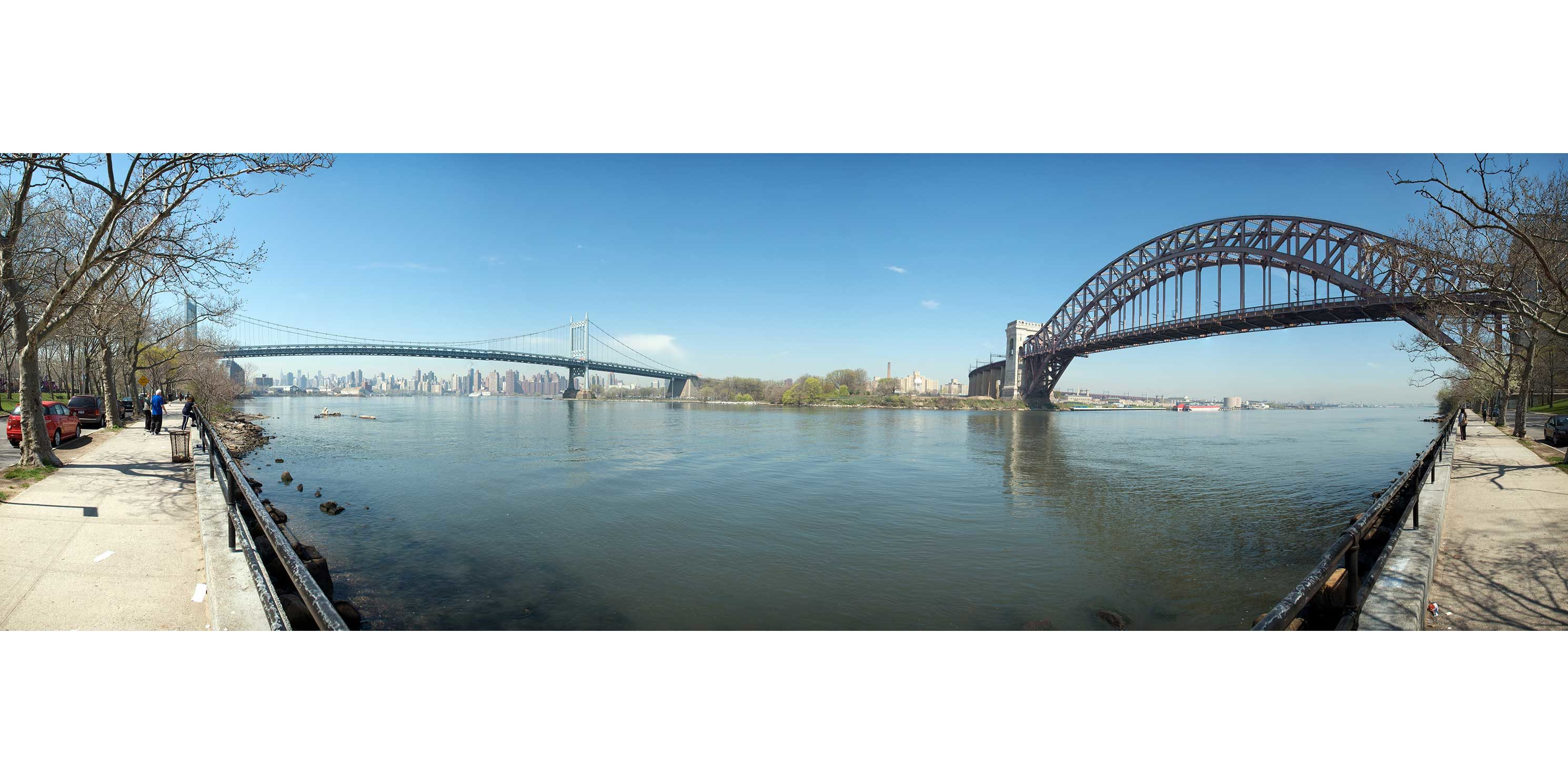 the Triborough (Robert F. Kennedy) Bridge and the Hell Gate Bridge as seen from Astoria Park