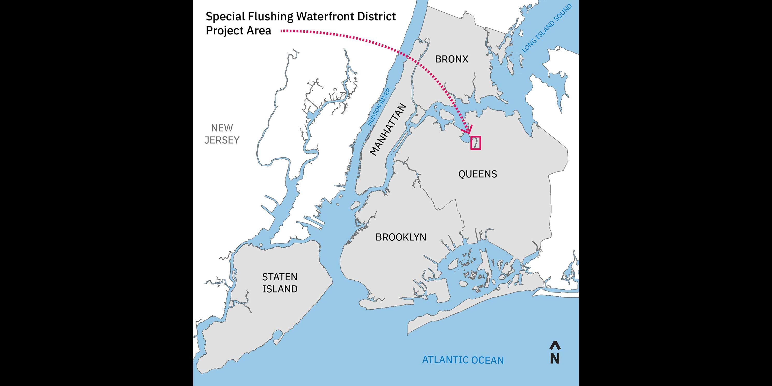 map of New York City with the Special Flushing Waterfront District highlighted