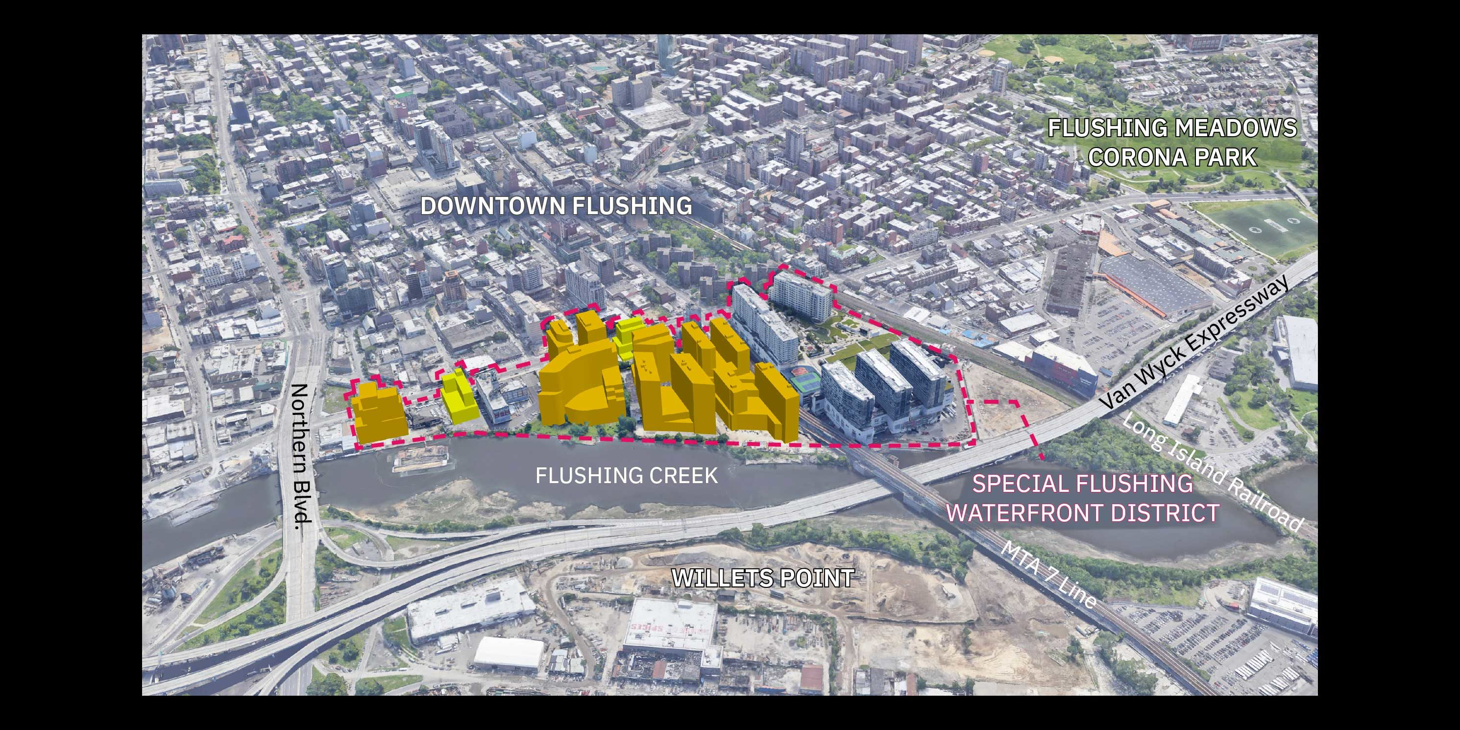 aerial view of the actual and proposed development in Flushing, Queens