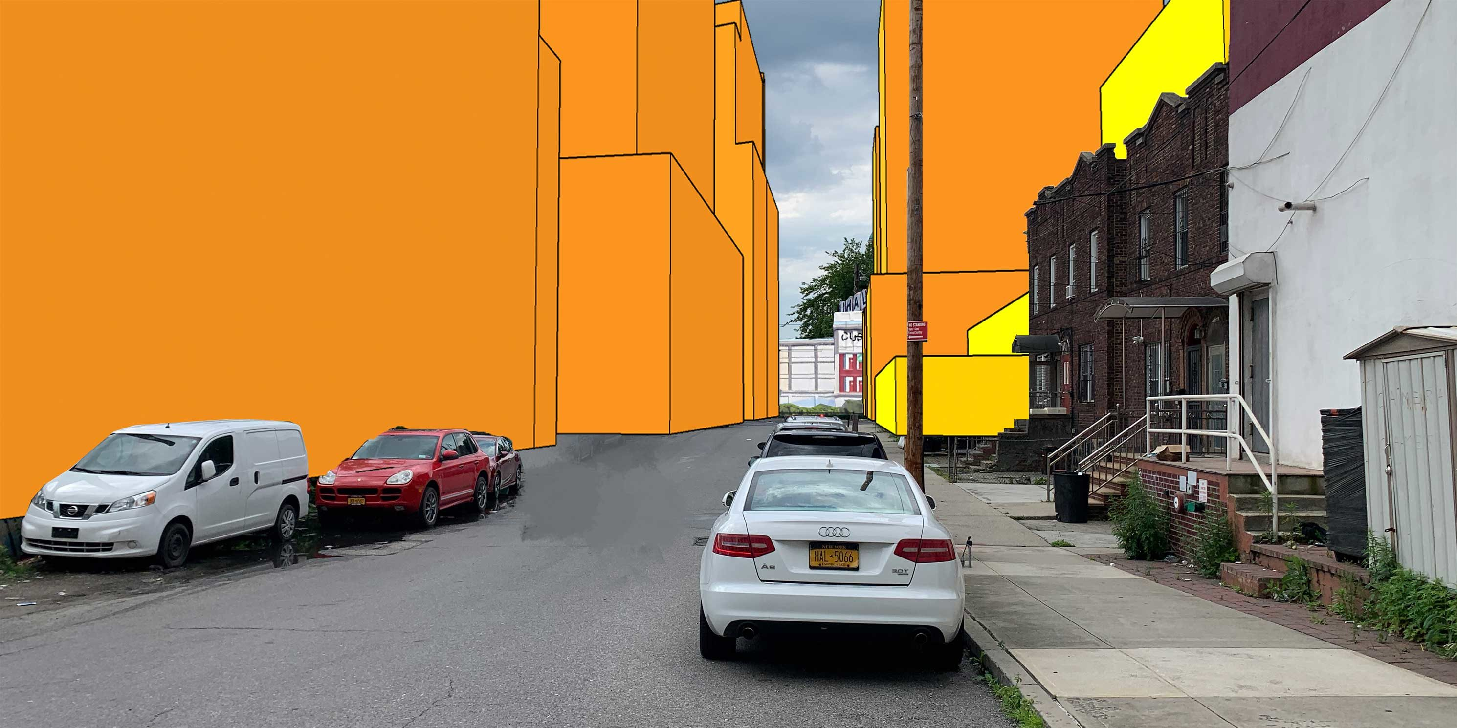 illustration of area near Janet Place in Flushing, Queens with proposed and potential development