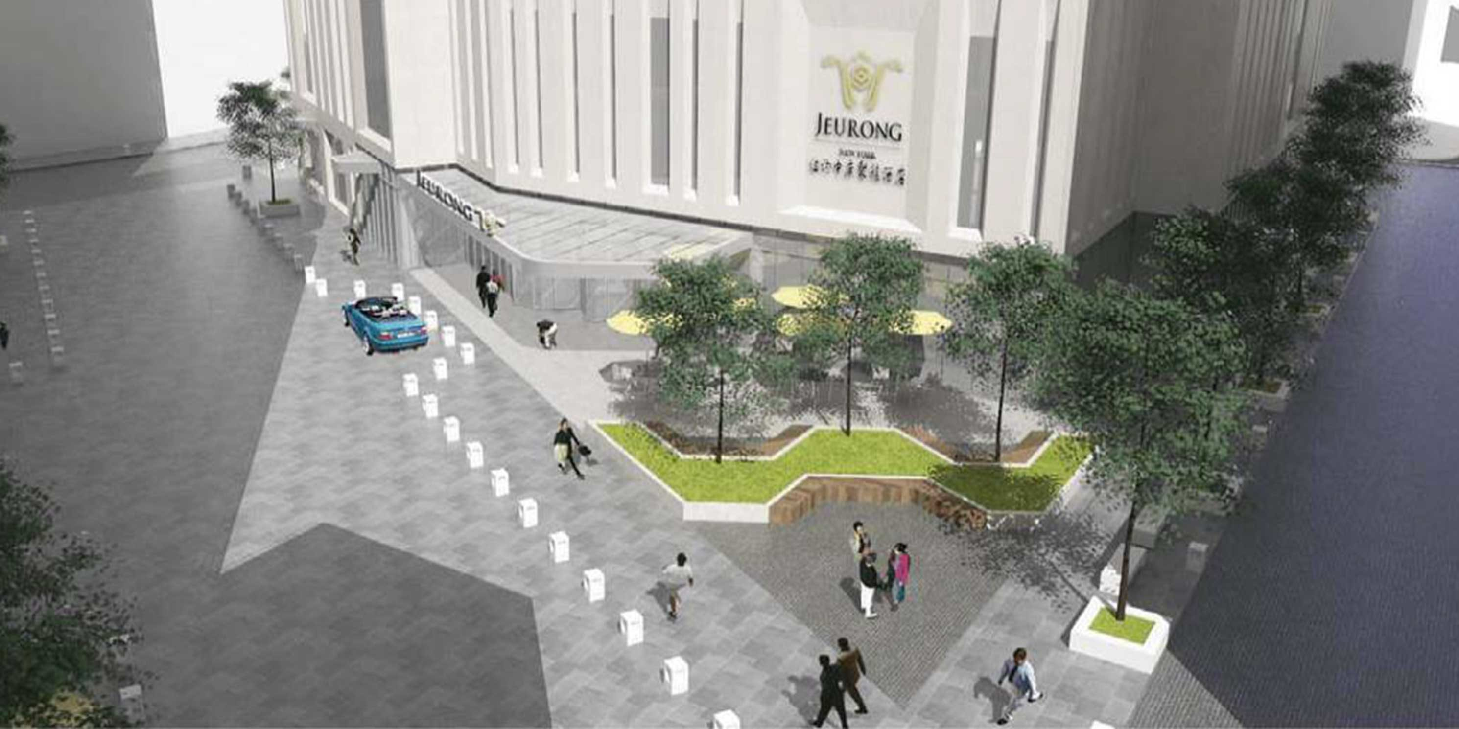 rendering of the public plaza in Flushing, Queens