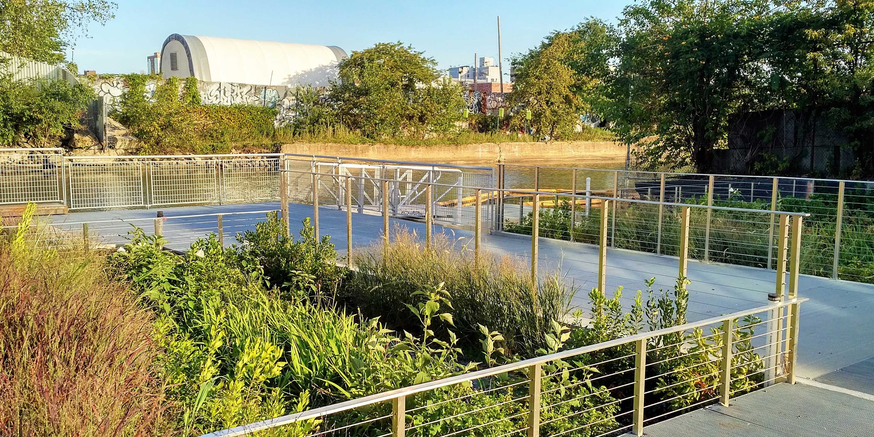 plants and walkway at the Gowanus Canal Sponge Park