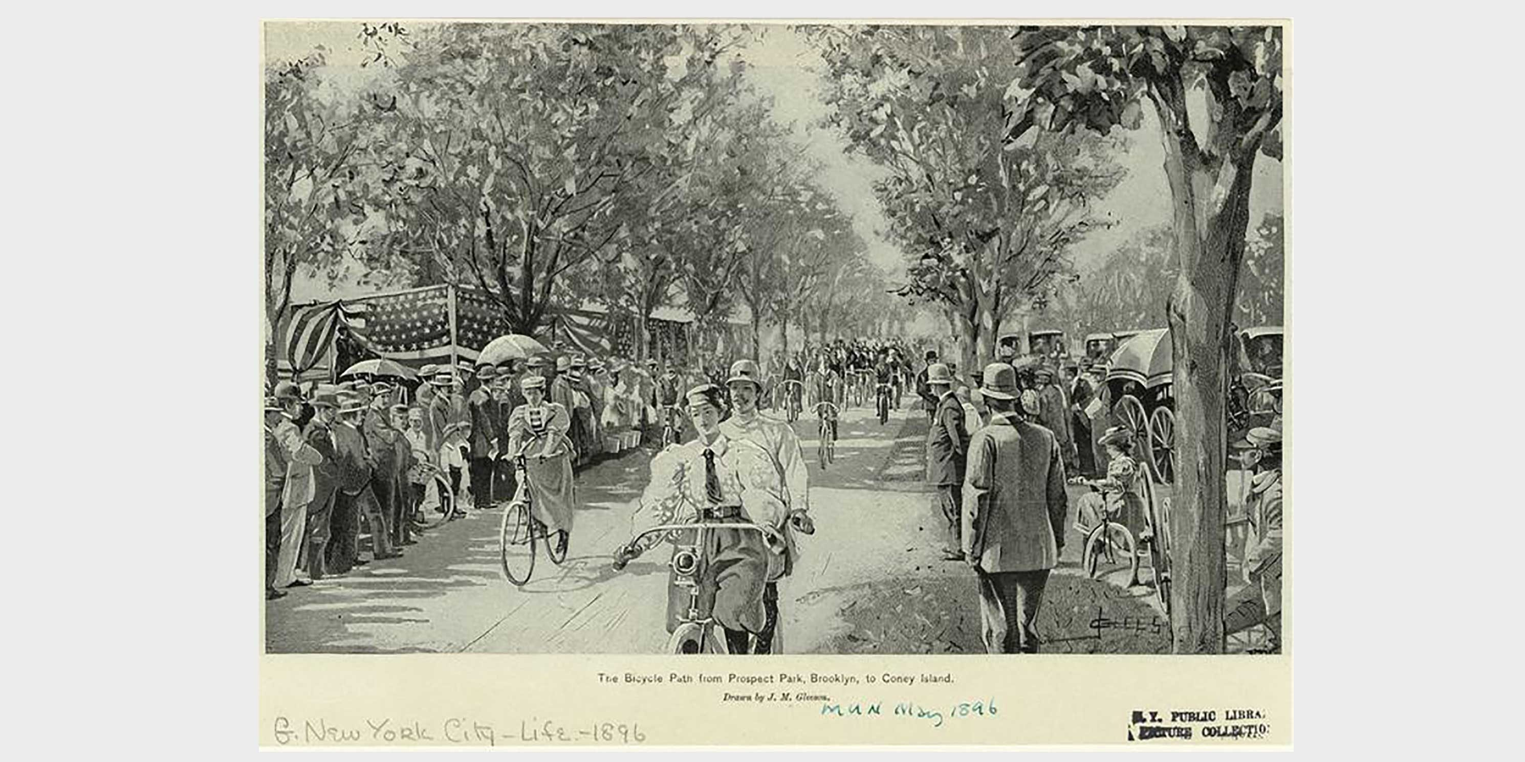 numerous cyclists ride on a bicycle path as people watch from roadside, 1896