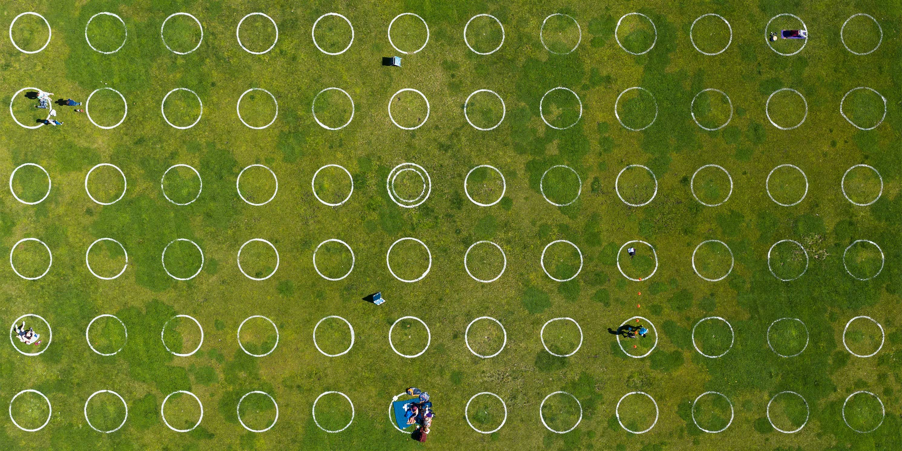 grass with COVID circles to separate park goers