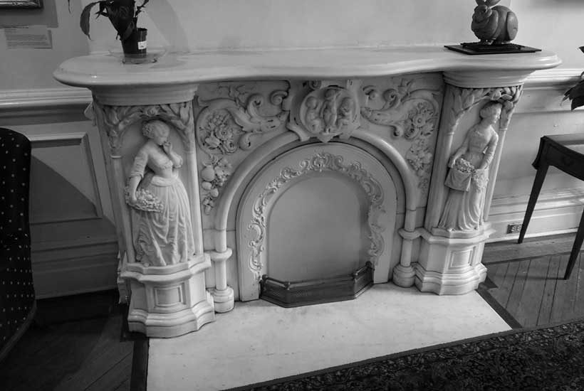 ornate marble fireplace at the Salamagundi Club