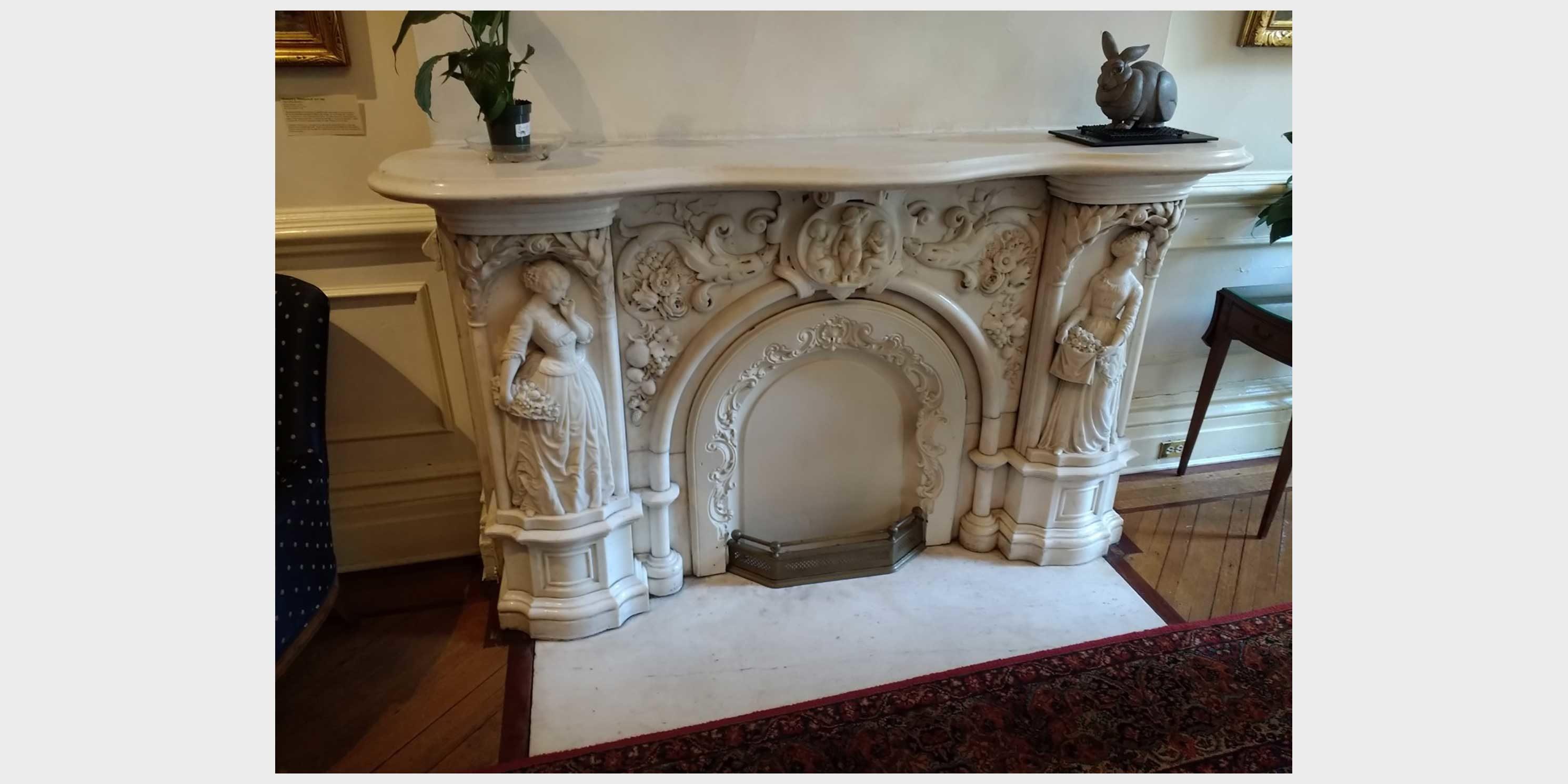 ornate marble fireplace at the Salamagundi Club